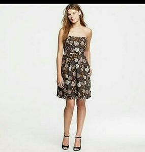 Used, J. Crew Marielle Gray/Gold Floral Strapless Dress for sale